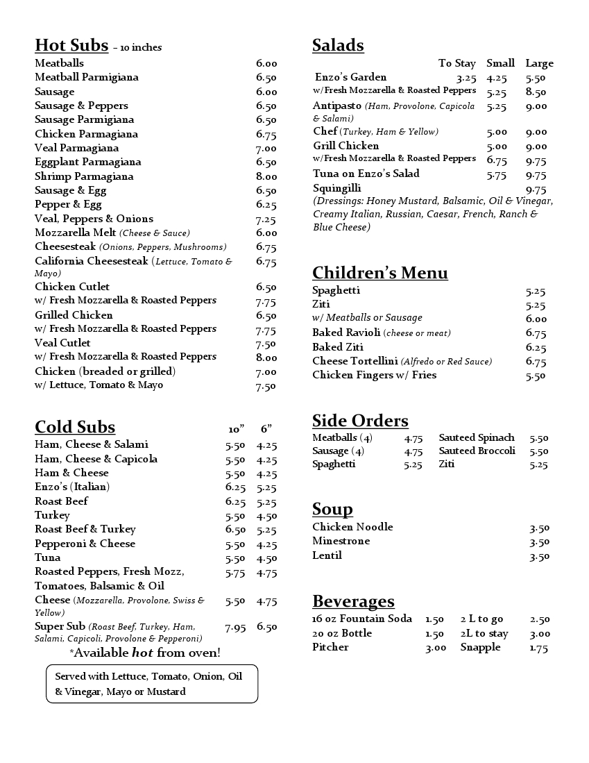 Enzos Pizza Menu